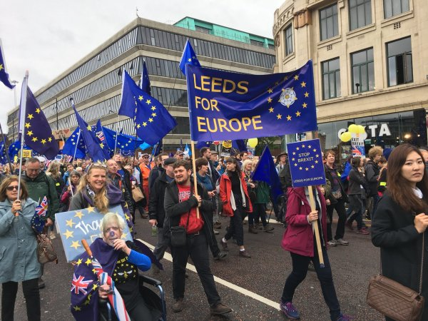 Leeds for Europe marching in Manchester